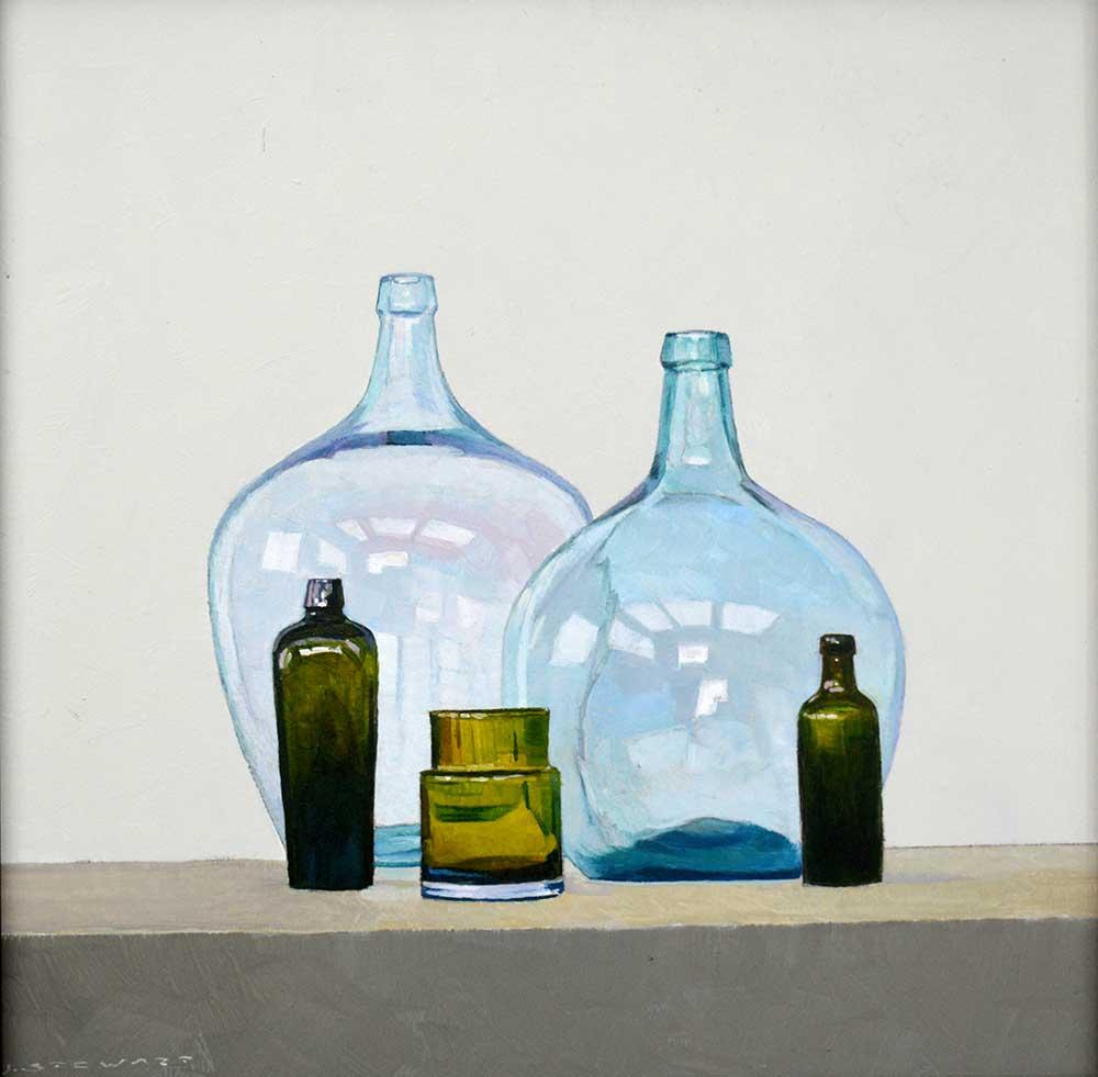 Glass Bottles - 30cm x 30cm - Oil on board