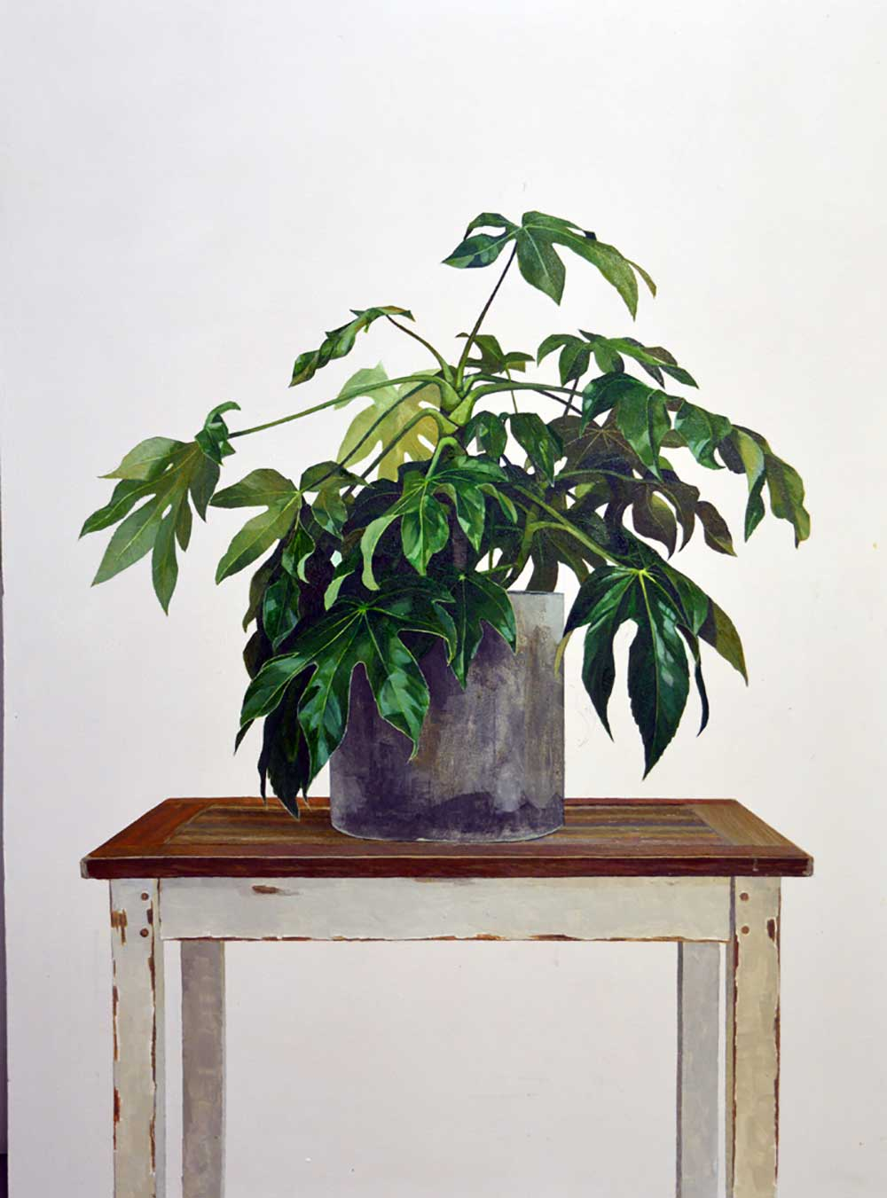 Plant On Table - 100cm x 70cm - Oil on board