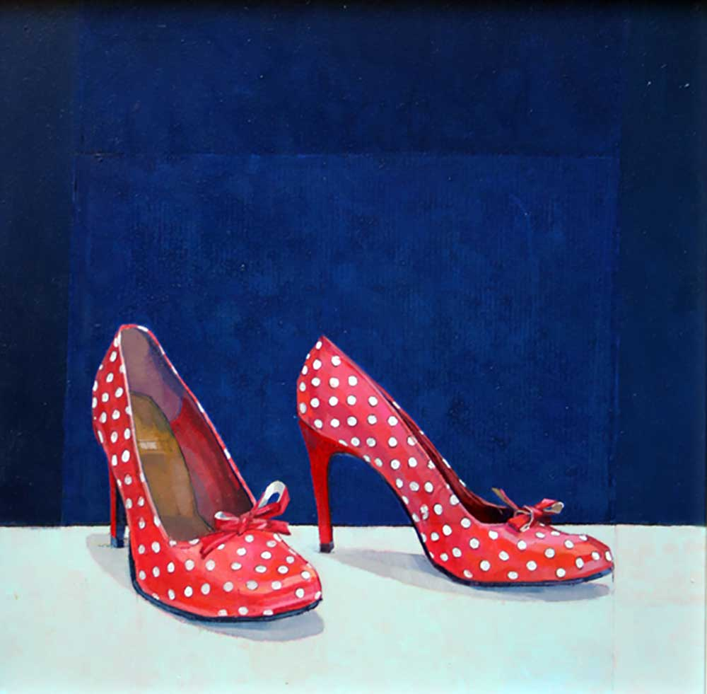 Red Shoes - 30cm x 30cm - Oil on board