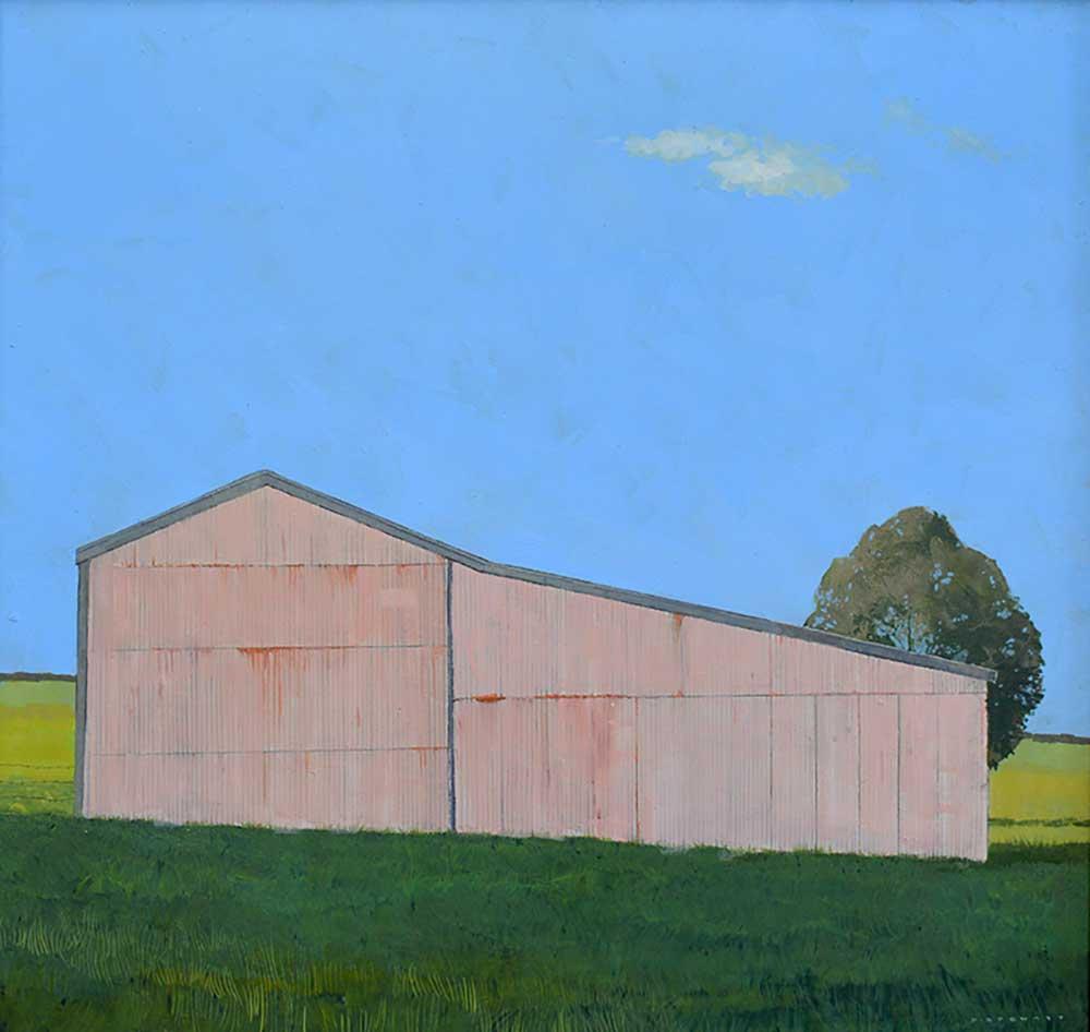 The Pink Barn - 60cm x 60cm - Oil on board